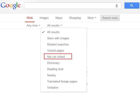 How to Get Google Search Results from Not yet Visited Websites