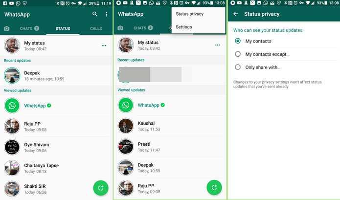 remove the new Whatsapp Status feature