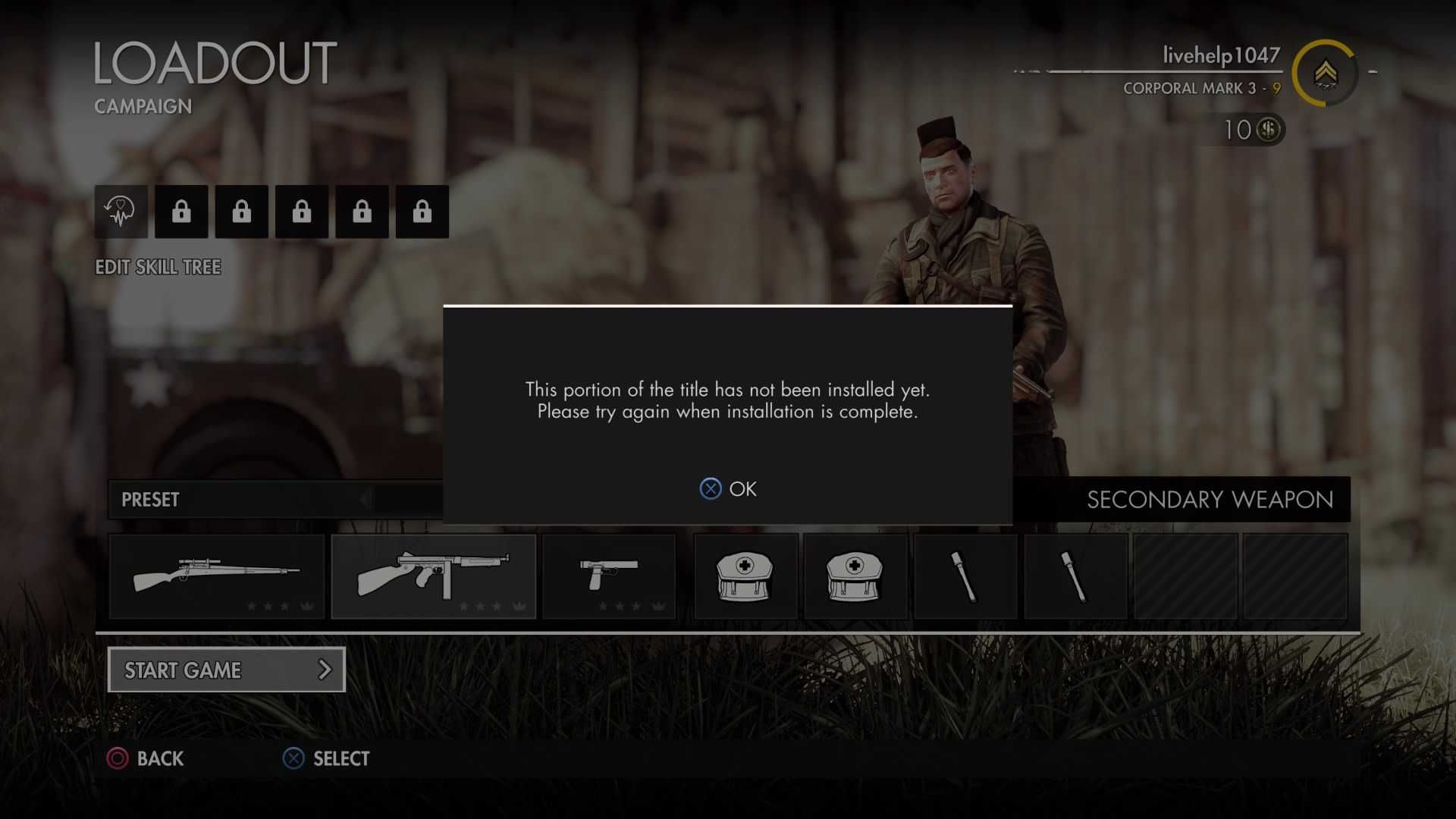 "Sniper Elite 4 Ultimate ""This portion of the title has not been installed yet""."