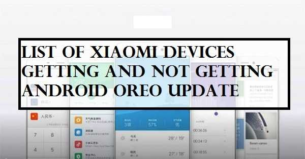 List Of Xiaomi Devices getting[and not getting] Android Oreo